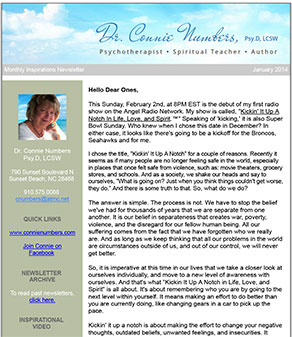Dr. Connie Numbers publishes a monthly newsletter offering advice for spiritual and personal growth.